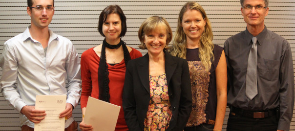 From the left, PhD students Doménique van Gennip and Annemarie Zijlema, Dean of UTS's Graduate Research School Professor Nicky Solomon, Associate Professor Elise van den Hoven from the School of Design and Professor Brombacher. Photo by Clare Donald.